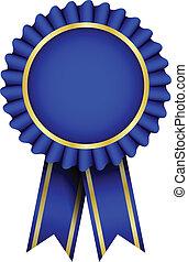 藍色, 矢量, 徽章, 帶子