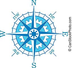 藍色, 矢量, 指南針