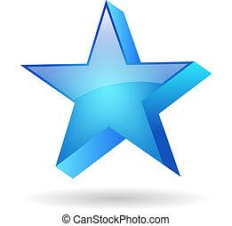 藍色, 矢量, 星