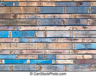 藍色, 繪, 支持, 木頭, 外部, grungy, 板條