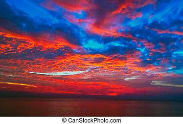 藍色, 美麗, 太陽, 天空, 海, 日出