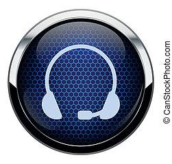藍色, 耳機, icon., 蜂窩