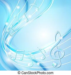 藍色, 背景。, 摘要, 音樂 注意
