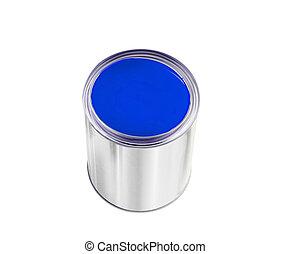 藍色, 被隔离, 畫罐, 罐頭, 白色, 打開