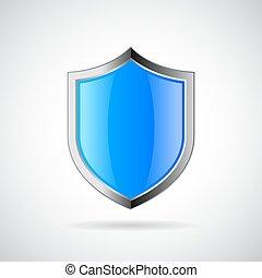 藍色, 裝甲, 盾, 圖象