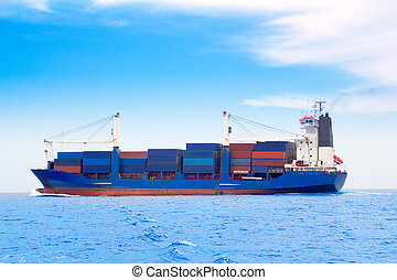 藍色, 貨物, dep, 海, 船, 容器