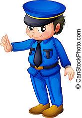 藍色, 通知, 警察, 完成, 官員