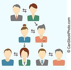 藍色, 過程, avatars, 被隔离, 通訊