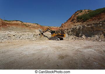 藍色, 采石場, 挖掘機, 大的天空, 站點, 黃色, 背景。, 建設, space., 新, 模仿, 沙
