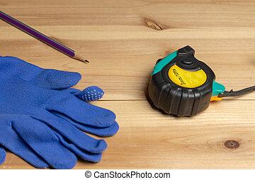 藍色, 鉛筆, 保護, 木頭, 措施, 手套, 部分, 磁帶