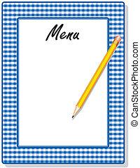 藍色, 鉛筆, 方格花布, 菜單, 框架