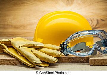 藍色, 鋼盔, 工作, 皮革, 黃色, 風鏡, 手套, 透明