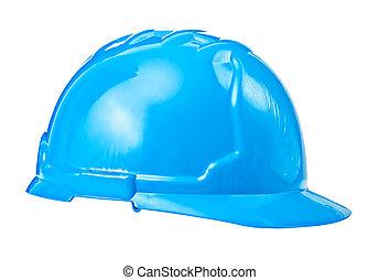 藍色, 鋼盔, 被隔离, 單個, 背景, 白色