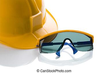藍色, 鋼盔, glases, 安全, 黃色