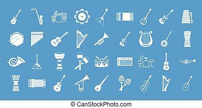 藍色, 集合, 儀器, 矢量, 音樂, 圖象