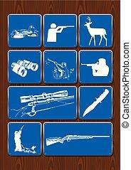 藍色, 集合, 圖象, 顏色, 鹿, 圖像, 背景。, 視力, 矢量, 鴨子, 獵人, 望遠鏡, 木制, 雙筒望遠鏡, rifle.