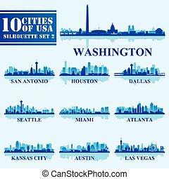 藍色, 集合, 美國, 黑色半面畫像, 2, 背景, 城市