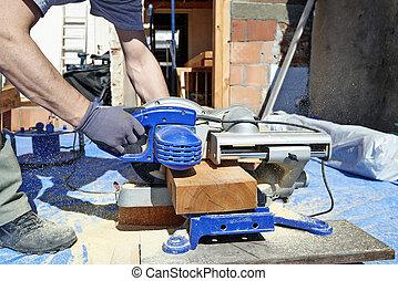 藍色, 電, 木匠, 使用, 看見, 衣領