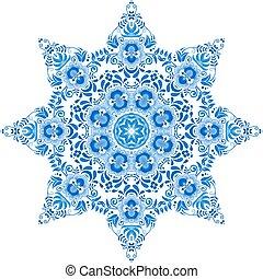 藍色, 風格, 圖案, gzhel, 植物, 環繞