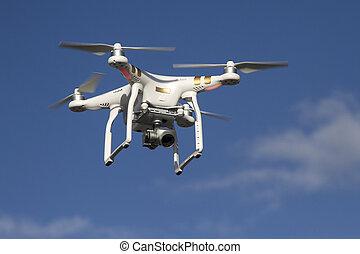 藍色, 飛行, 天空, 小, 照像機, unmanned, 直升飛机