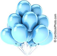 藍色, 黨, 生日, 气球, cyan