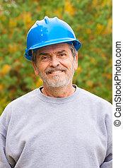 藍色, hardhat, 建造者, 承包商