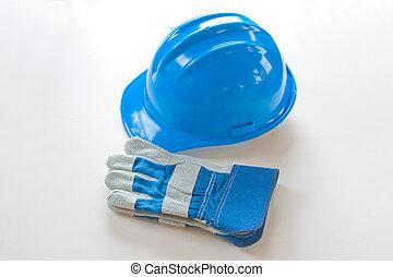 藍色, hardhat, 白色, 被隔离