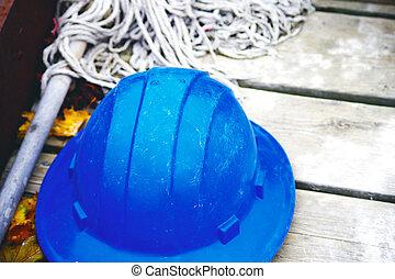 藍色, hardhat, 船塢