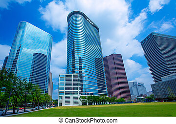 藍色, houston, 摩天樓, 天空, 市區, 鏡子, disctict