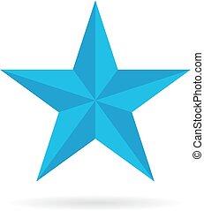 藍色, pentagonal, 星, 圖象