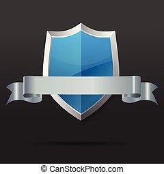 藍色, ribbon., illustration., 矢量, 銀, 盾