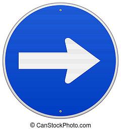 藍色, roadsign, 權利, 指
