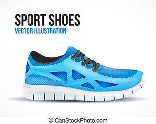 藍色, shoes., 跑, 符號。, 明亮, 鬼鬼祟祟的人, 運動