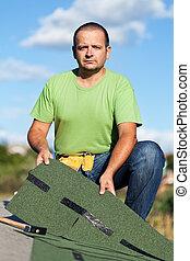 藏品, 屋頂板, 建造工人, 瀝青, 屋頂, 頂部
