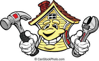藏品, 房子, 修理, 工具, 愉快