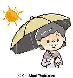 藏品, 插圖, 矢量, 陽傘, 年長, 婦女