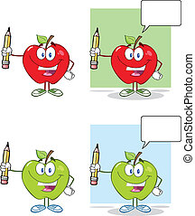 藏品, 蘋果, 鉛筆, 愉快, 向上