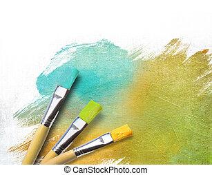 藝術家, 完成, 一半, 刷子, 帆布, 繪