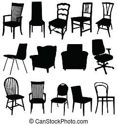 藝術顏色, 插圖, 矢量, 黑色, 椅子