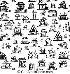 藝術, seamless, 房子, 設計, 背景, 你