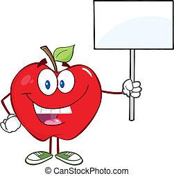蘋果, 向上, 簽署, 藏品, 空白, 愉快