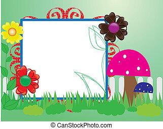 蘑菇, 嬰孩, 花, 柵欄, scrapbook(10)