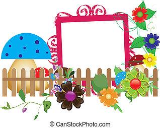 蘑菇, 嬰孩, 花, 柵欄, scrapbook(6)