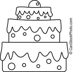 蛋糕, 圖象, 風格, celebratory, outline