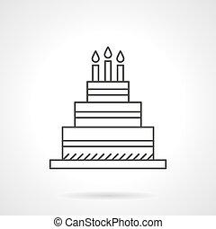 蛋糕, 生日, 圖象, 矢量, 設計, 線, 套間