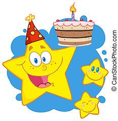 蛋糕, 生日, 星, 藏品, 愉快