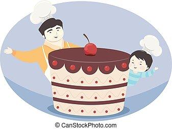 蛋糕, 男孩, 父親, 插圖, 孩子
