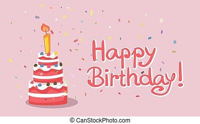 蛋糕, 矢量, 生日快樂, 卡片, 設計, 插圖