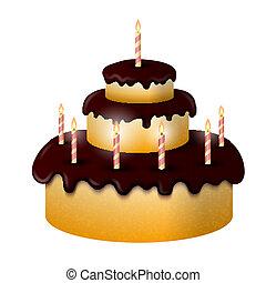 蛋糕, 蜡燭, celebratory, 燃燒, 巧克力