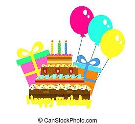 蛋糕, celebratory, 生日, 禮物。, 矢量